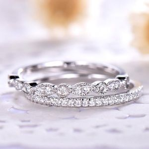 Jewelry - 925 Silver Wedding Band Pave anniversary Ring